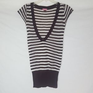 Lola Horizontal Line Shirt Top Brown White SZ S/M